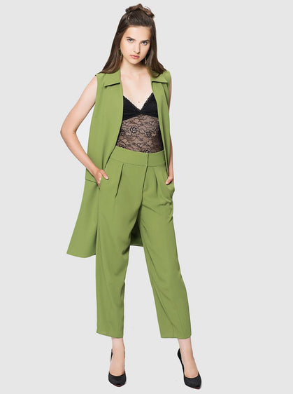 ROMAN USA-Cropped Cocoon Pant-- [GREEN]