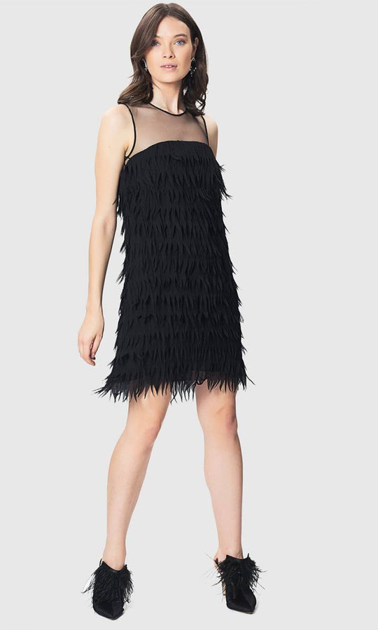 FRINGE BLACK DRESS