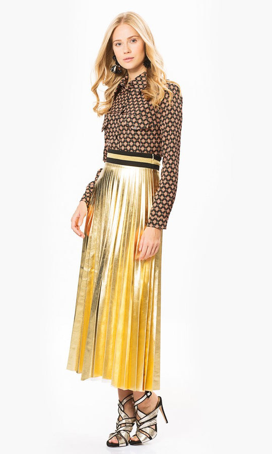 Apparel - Gold Pleated Skirt