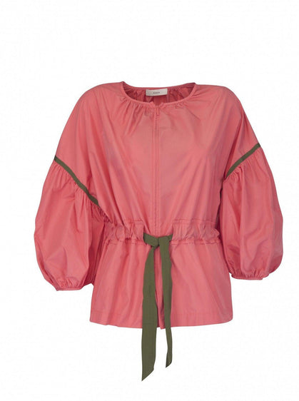 Puffy Pink Belted Bomber