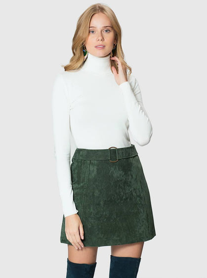 Apparel - GREEN SUEDE SKIRT