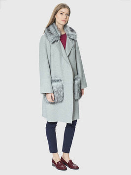 Apparel - GREY COAT WITH FUR