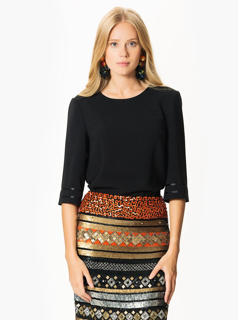 Apparel - Half Sleeve Black Blouse
