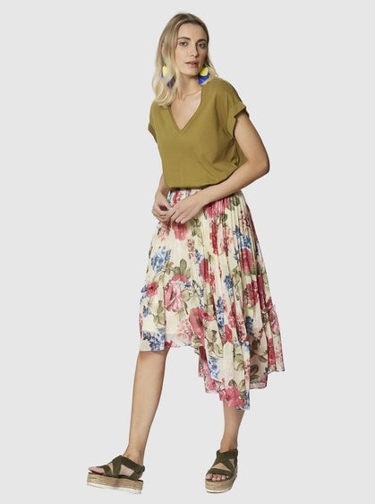 Apparel - HIGH-LOW PLEATED SKIRT