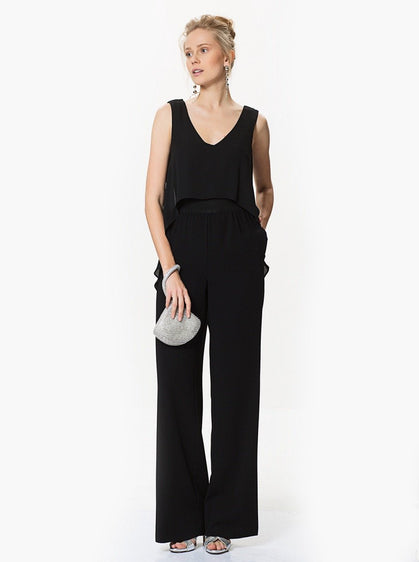 ROMAN USA-High-Low Panel Top Jumpsuit-- [BLACK]