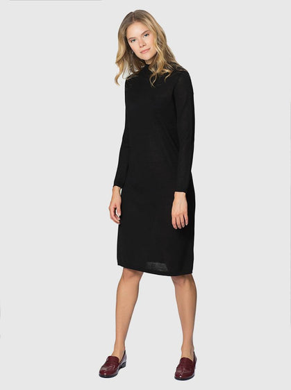 ROMAN USA-KNIT KNEE-LENGTH DRESS-- [BLACK]