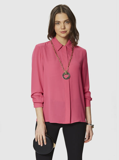 ROMAN USA-Classic Collar Blouse-- [FUSCHIA]