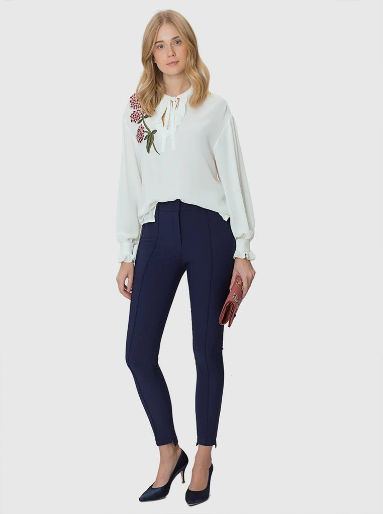 Apparel - NAVY SKINNY PANTS WITH DETAIL
