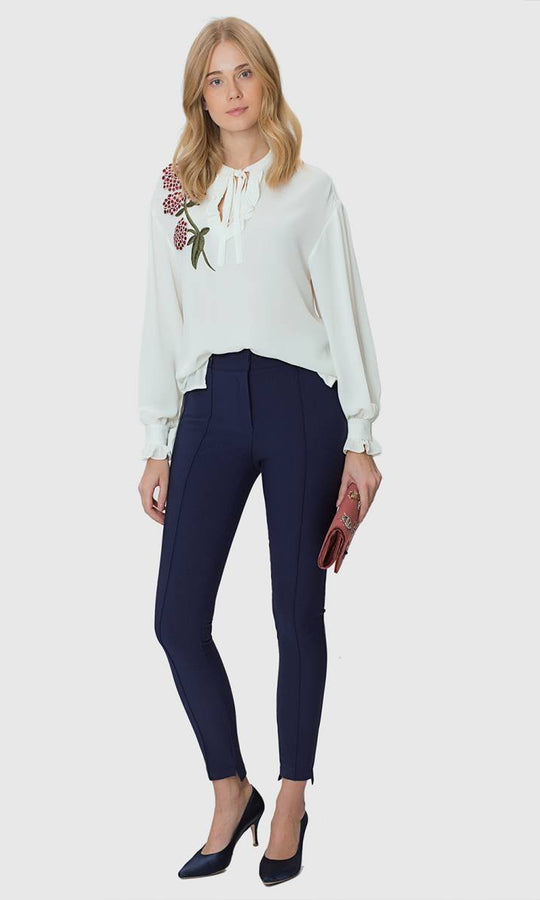 NAVY SKINNY PANTS WITH DETAIL