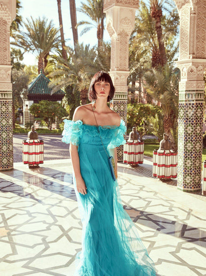Ruffled Turquoise Evening Gown