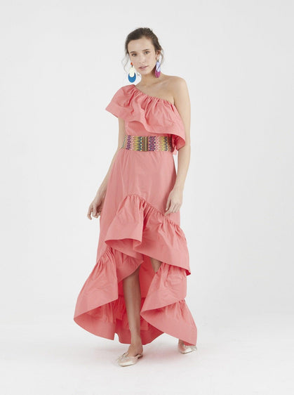 Apparel - ONE SHOULDER RUFFLE DRESS