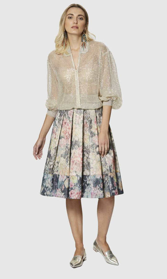 Apparel - PLEATED FLORAL SKIRT