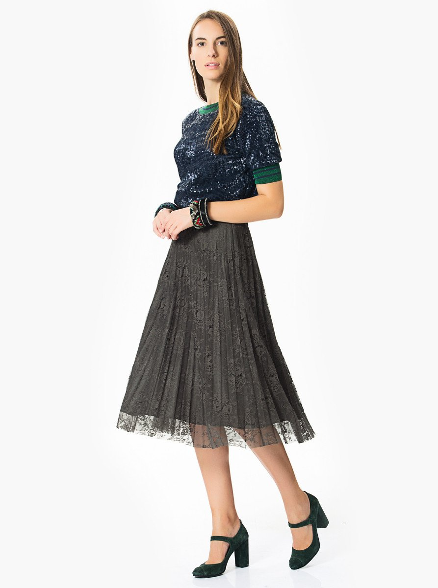 ROMAN USA-PLEATED GRAY LACE SKIRT-- [GREEN]