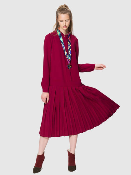 PLEATED MIDI DRESS