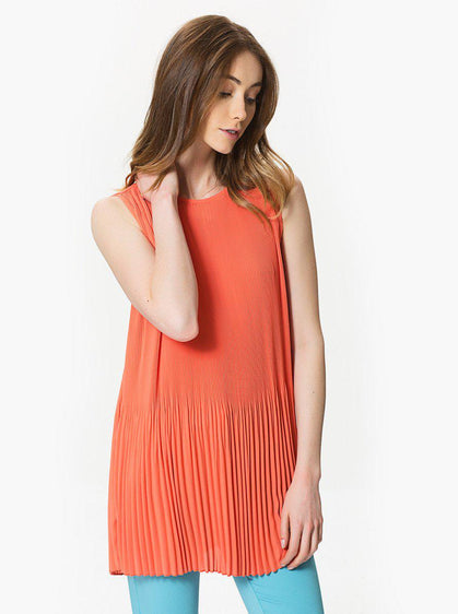 ROMAN USA-Pleated Sleeveless Top-- [CORAL]