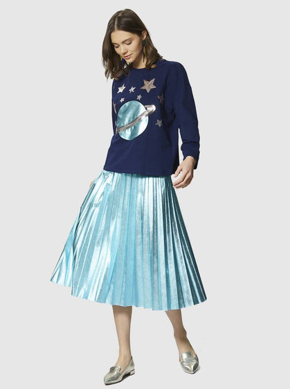 Apparel - PLEATED TURQUOISE SKIRT
