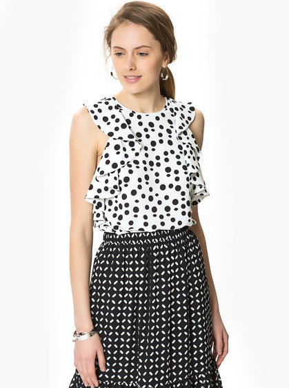 Polka Dot Top with Ruffle