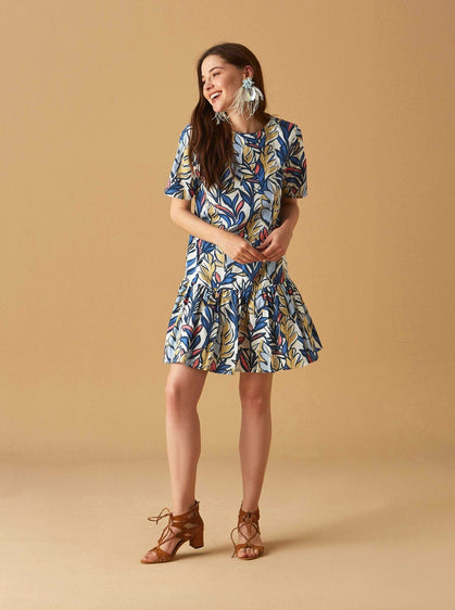 PRINT DROP WAIST RUFFLE DRESS