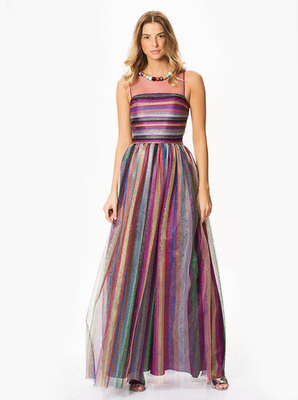 ROMAN METALLIC MULTICOLOR EVENING GOWN