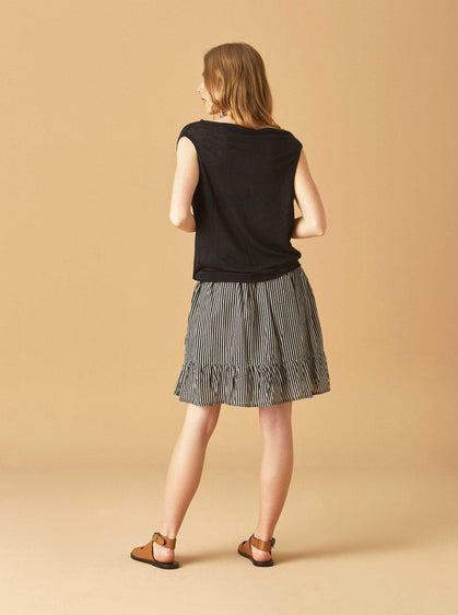 Apparel - RUFFLE BOTTOM STRIPED SKIRT