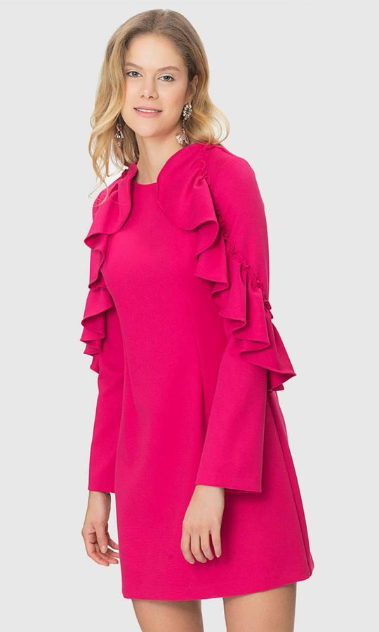 RUFFLE DETAIL A-LINED DRESS