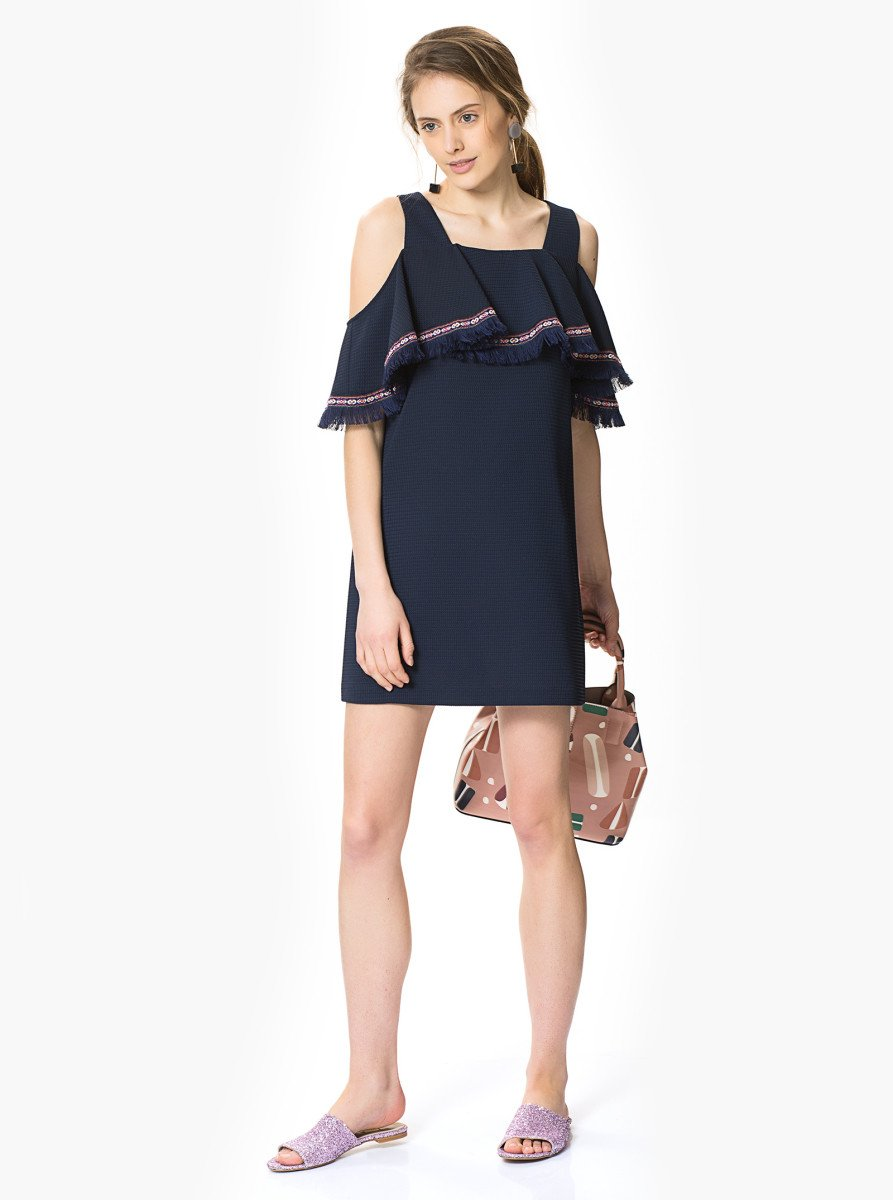 ROMAN USA-Canvas Navy Cold-Shoulder Dress-