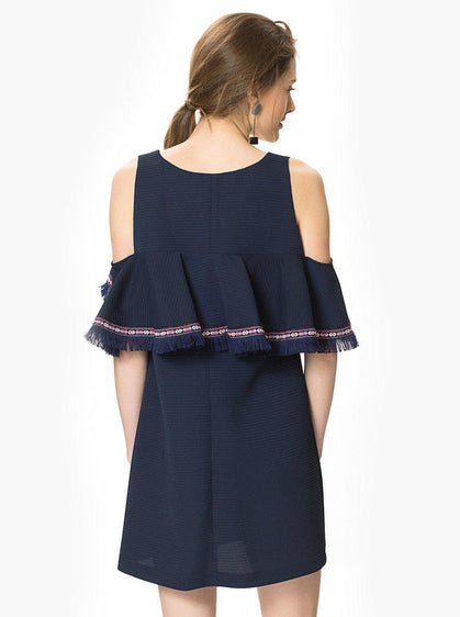Apparel - RUFFLE NAVY DRESS