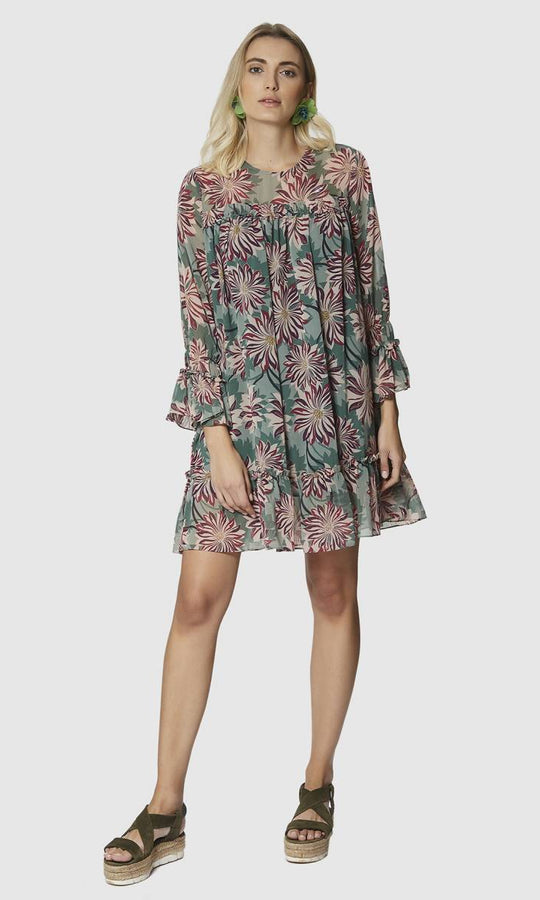 Apparel - RUFFLE SLEEVE FLORAL DRESS