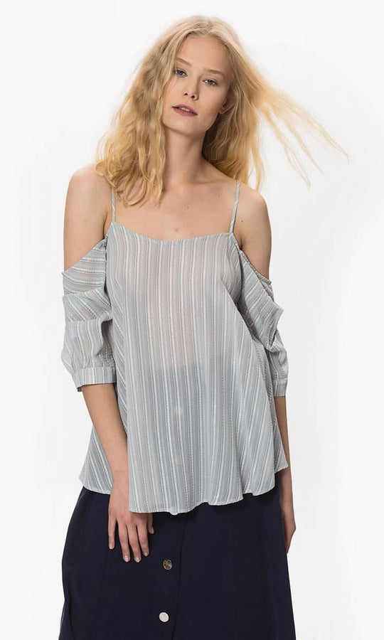 Apparel - SILVER DROPPED SHOLDER  TOP