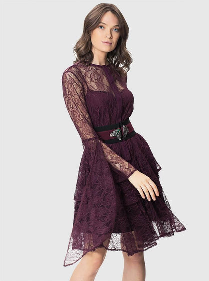 Burgundy Lace Flare Sleeve Tunic