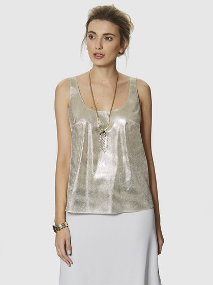 ROMAN USA-SLEEVELESS GOLD BLOUSE-- [LIGHT - CAMEL]