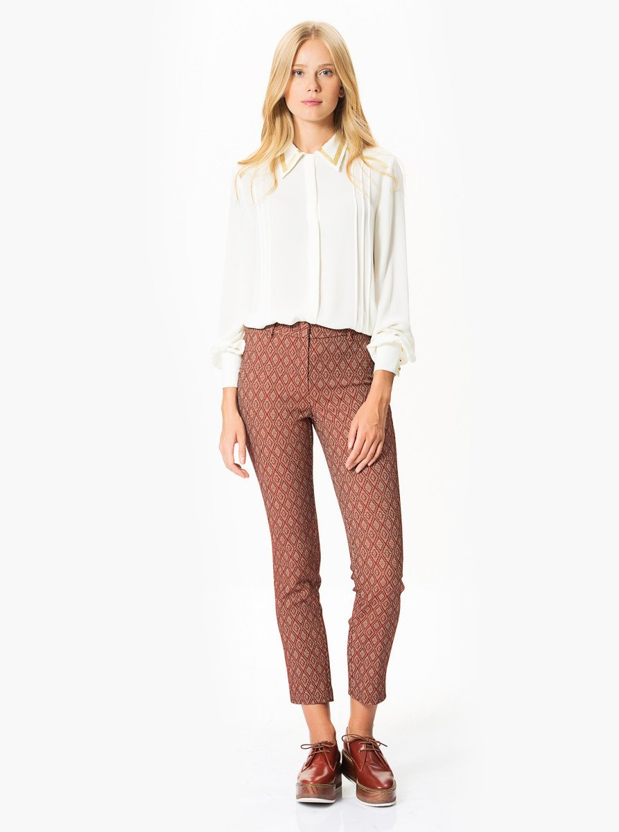 ROMAN USA-SLIM FIT STRETCHY CROP PANTS-