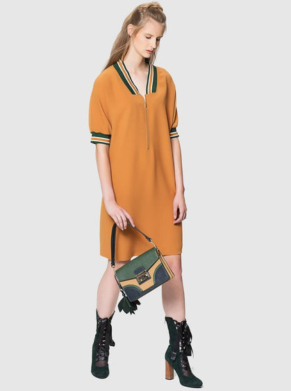 ROMAN USA-Varsity Trim Shift Dress-- [GREEN]