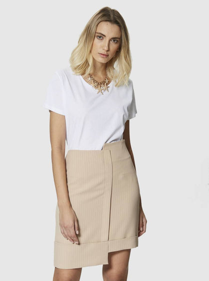 Apparel - STRIPED BEIGE SKIRT
