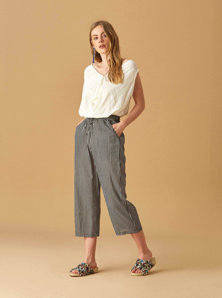 Apparel - STRIPED COTTON PANTS