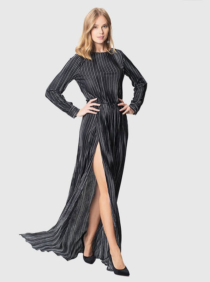 STRIPED GOWN WITH SLIT