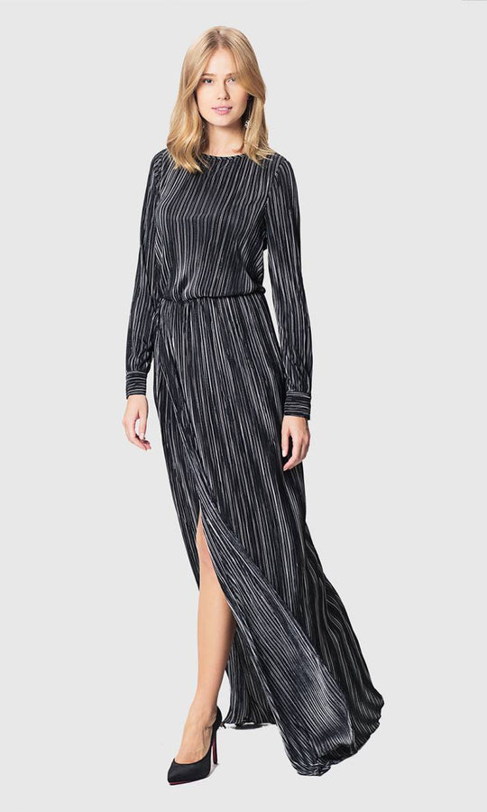 Apparel - STRIPED GOWN WITH SLIT