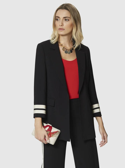 ROMAN USA-STRIPED SLEEVE JACKET-- [BLACK]