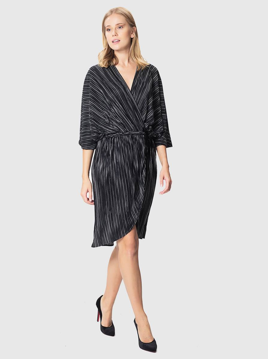 ROMAN USA-Greyscale Pleat Wrap Dress-