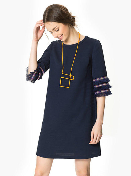 ROMAN USA-Tassel Sleeve Shift Dress-