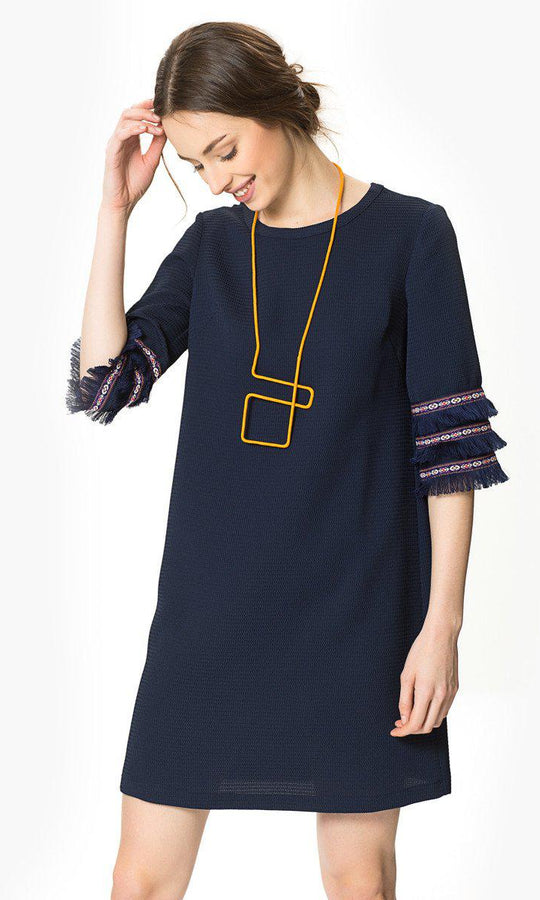 Tassel Sleeve Shift Dress