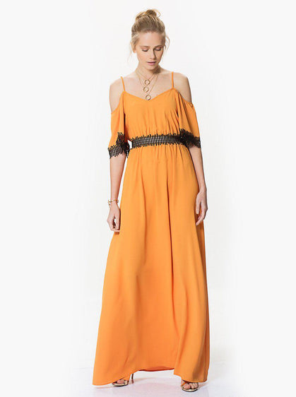 ROMAN USA-Sheer Panel Maxi Dress-