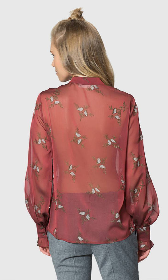 Apparel - TRANSPARENT FLORAL BLOUSE