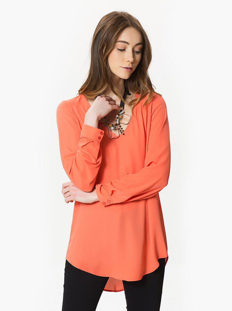 Apparel - V-Neck Coral Blouse
