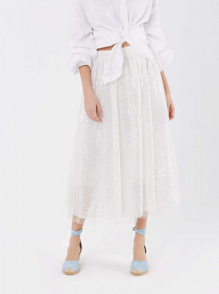 Apparel - WHITE SEQUIN SKIRT