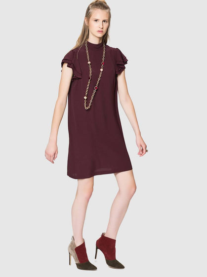 ROMAN USA-Flounce Tiered Wine Dress-- [BURGUNDY]
