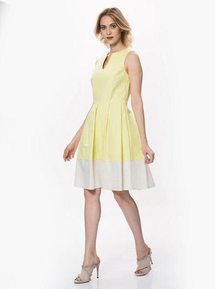 YELLOW KNEE-LENGTH DRESS