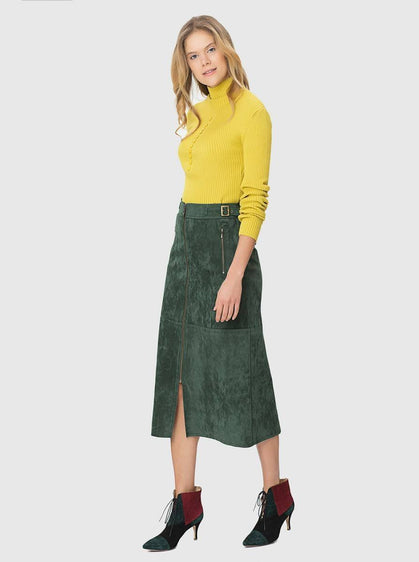 ZIPPER FRONT MIDI SKIRT