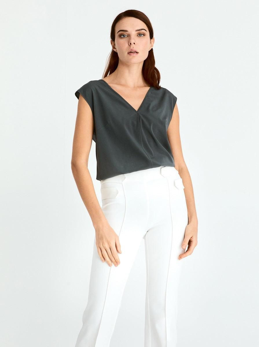 ROMAN USA-High Waisted Flare Pant-- [OFF - WHITE]
