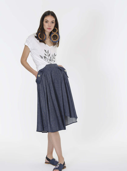 ROMAN USA-Chambray Pocket Midi Skirt-- [DARK - BLUE]